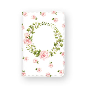 front view of personalized RFID blocking passport travel wallet with Lush Flowers design