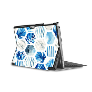 the back side of Personalized Microsoft Surface Pro and Go Case in Movie Stand View with Geometric Flower design - swap