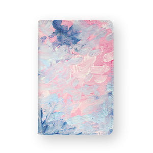 front view of personalized RFID blocking passport travel wallet with Oil Painting Abstract design