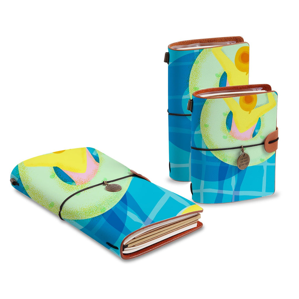 three size of midori style traveler's notebooks with Beach design