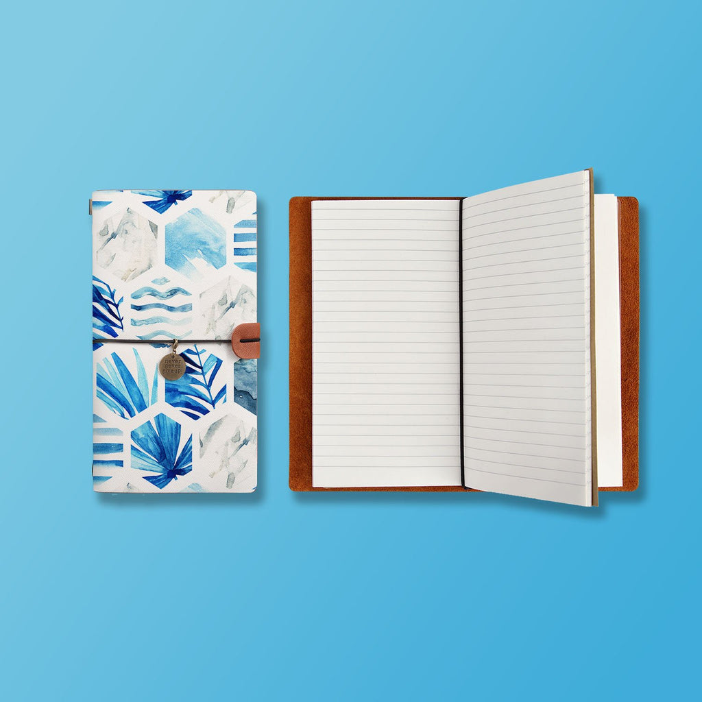 the front top view of midori style traveler's notebook with Geometric Flower design