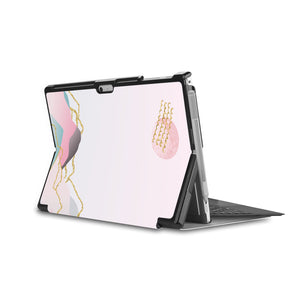 the back side of Personalized Microsoft Surface Pro and Go Case in Movie Stand View with Marble Art design - swap