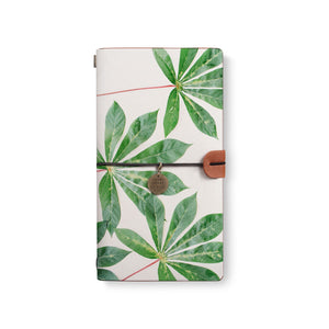 the front top view of midori style traveler's notebook with Flat Flower design