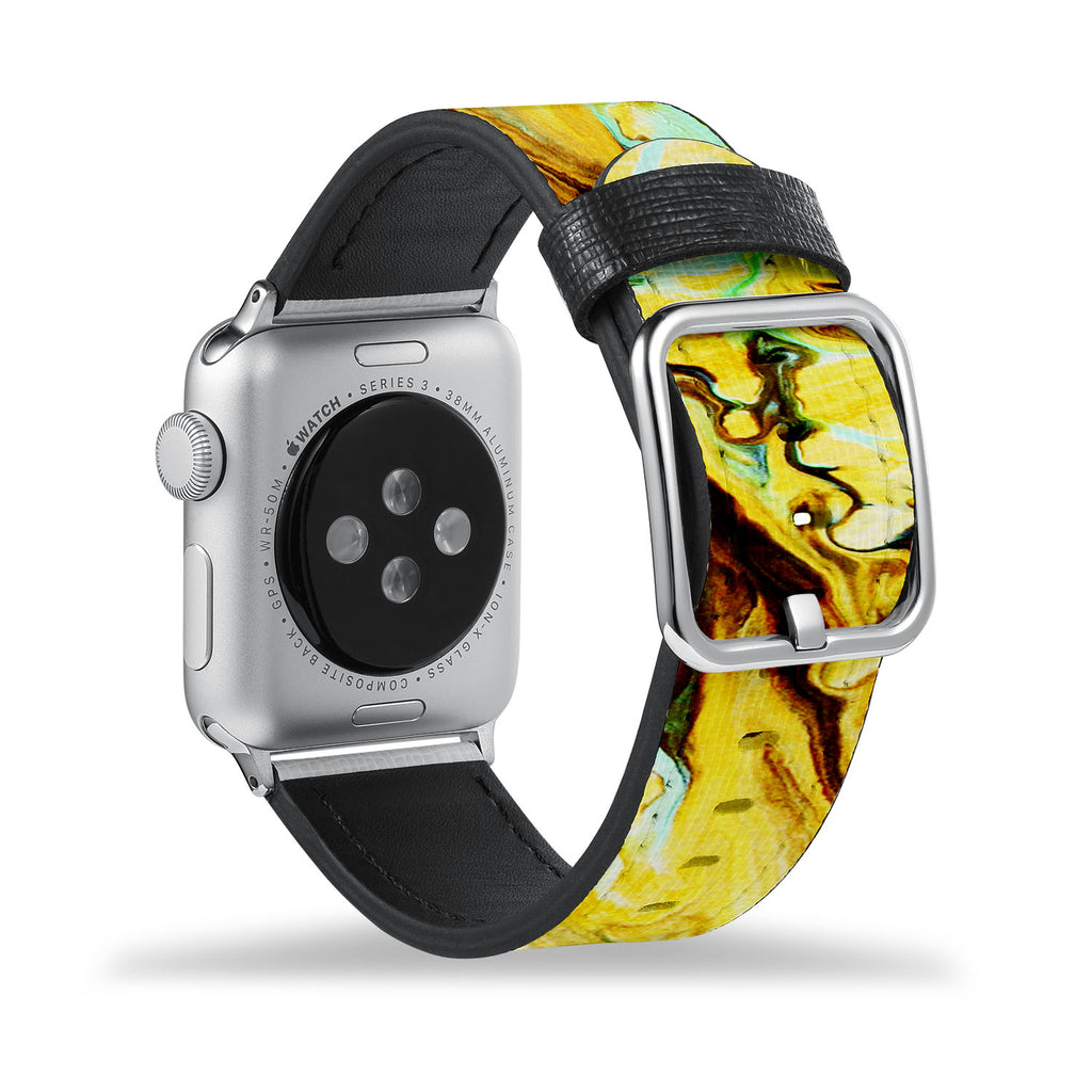 Printed Leather Apple Watch Band with Abstract Pattern design Like all Apple Watch bands, you can match this band with any Apple Watch case of the same size