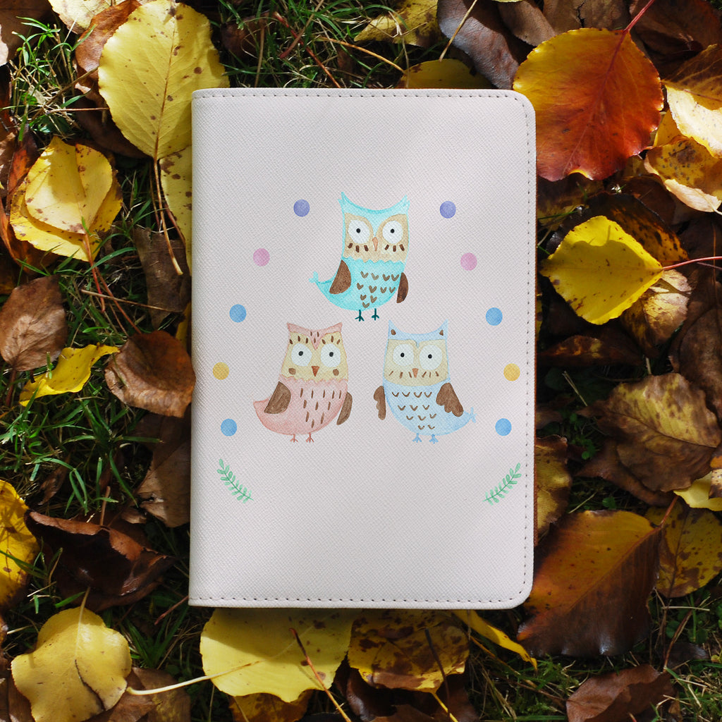 personalized RFID blocking passport travel wallet with Happy Owls design on maple leafs