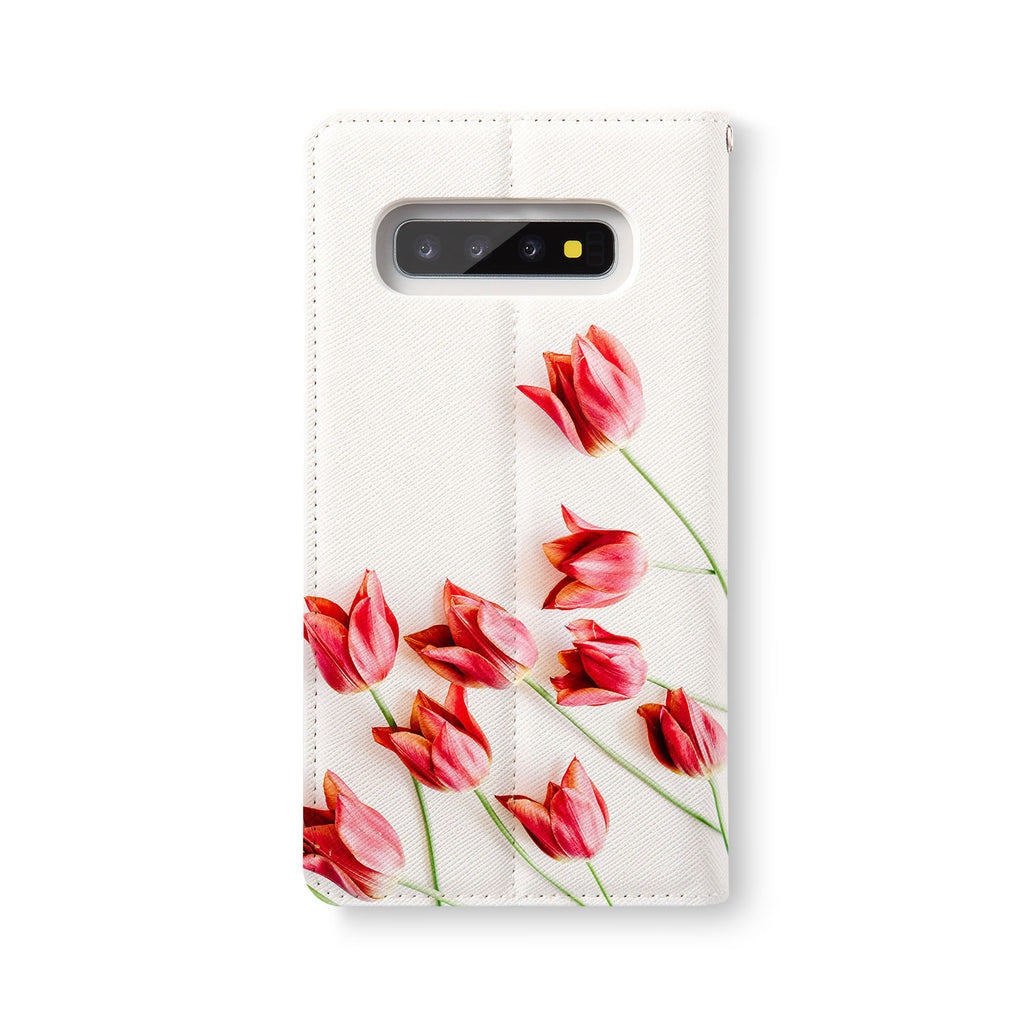 Back Side of Personalized Samsung Galaxy Wallet Case with FlatFlower design - swap