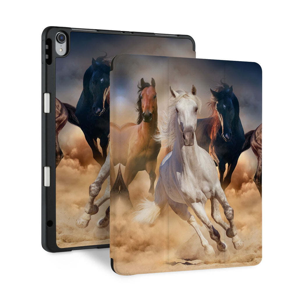 front and back view of personalized iPad case with pencil holder and ASORTED 01 design