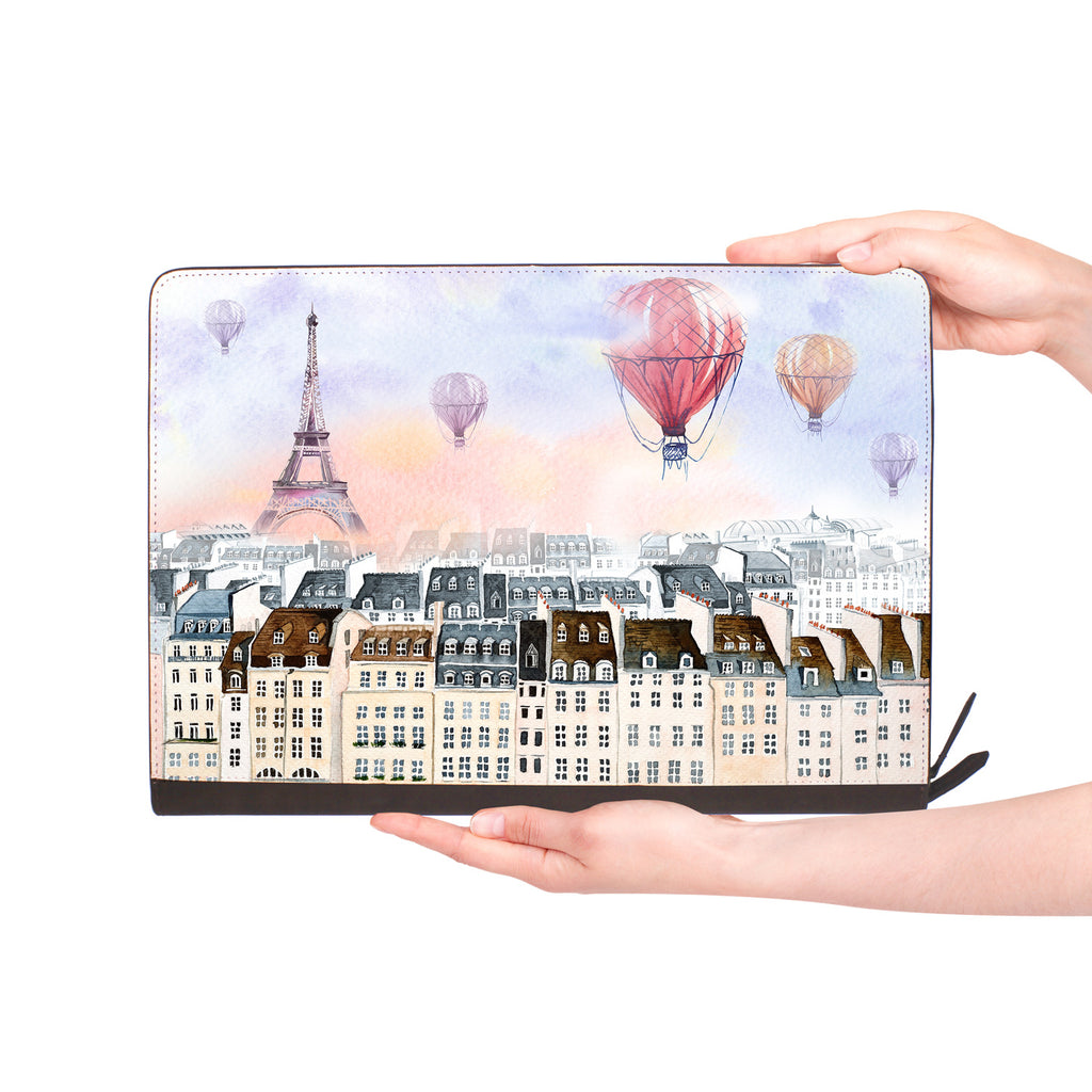 macbook air inside of personalized Macbook carry bag case with Travel design
