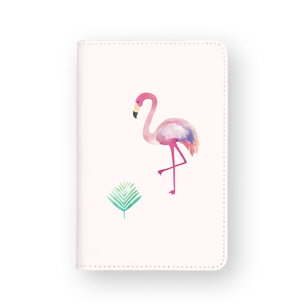 front view of personalized RFID blocking passport travel wallet with Tropical Treasures design