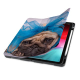front view of personalized iPad case with pencil holder and Dog design