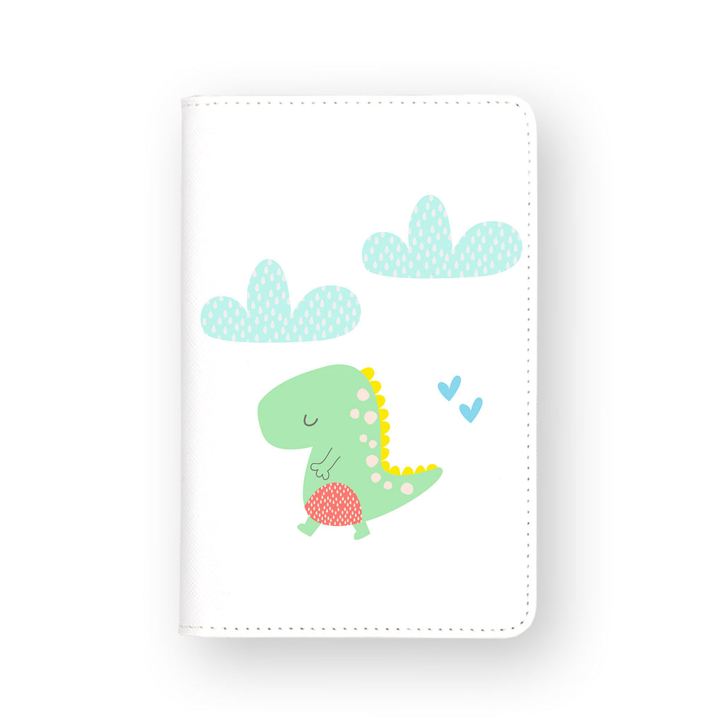 front view of personalized RFID blocking passport travel wallet with Dino design