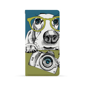 Front Side of Personalized iPhone Wallet Case with Dog design