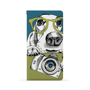 Front Side of Personalized Huawei Wallet Case with Dog design