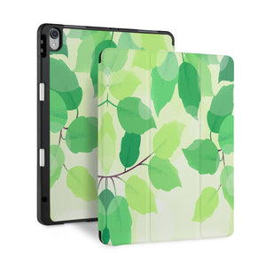 front back and stand view of personalized iPad case with pencil holder and Leaves design - swap