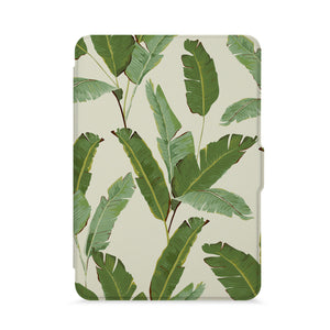 front view of personalized kindle paperwhite case with Green Leaves design - swap