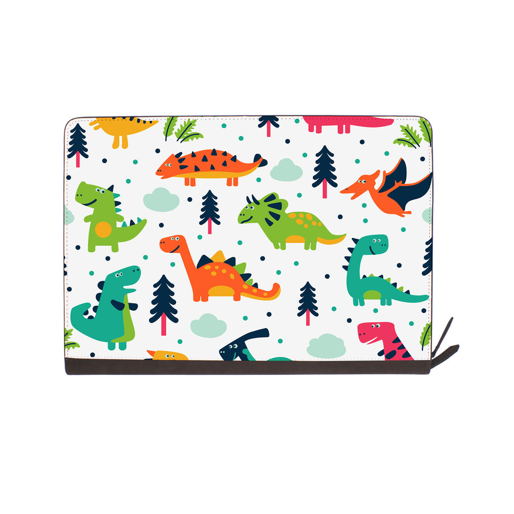 front view of personalized Macbook carry bag case with Dinosaur design