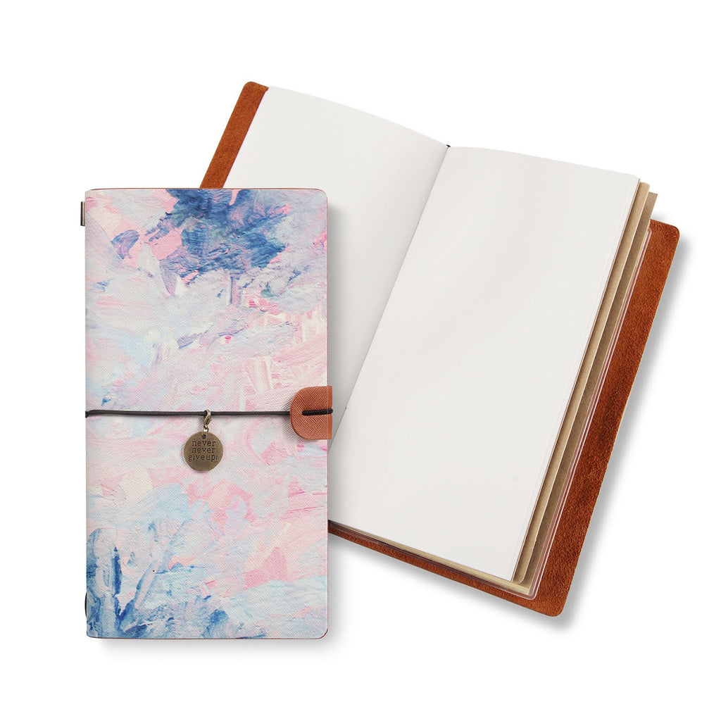 opened midori style traveler's notebook with Oil Painting Abstract design