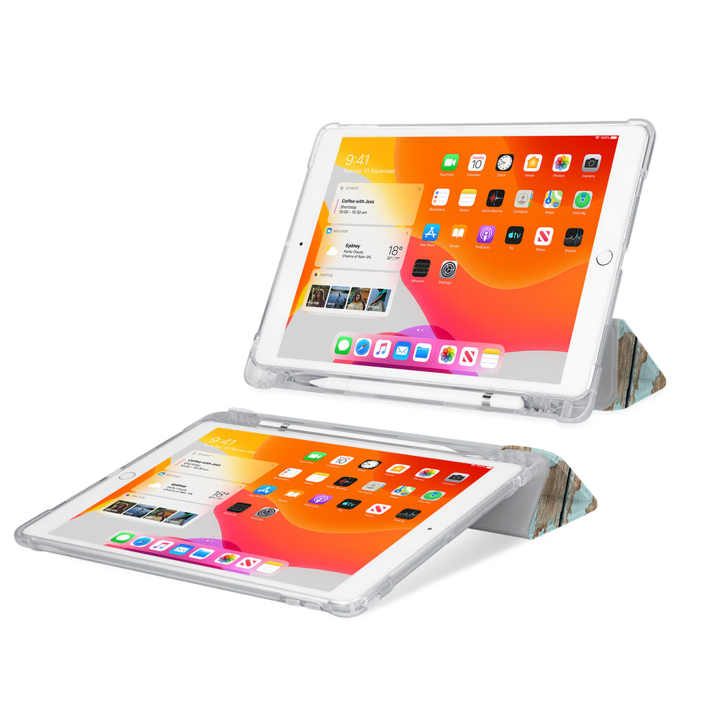 iPad SeeThru Casd with Wood Design Rugged, reinforced cover converts to multi-angle typing/viewing stand