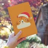 a girl holding personalized RFID blocking passport travel wallet with Cute Cat design