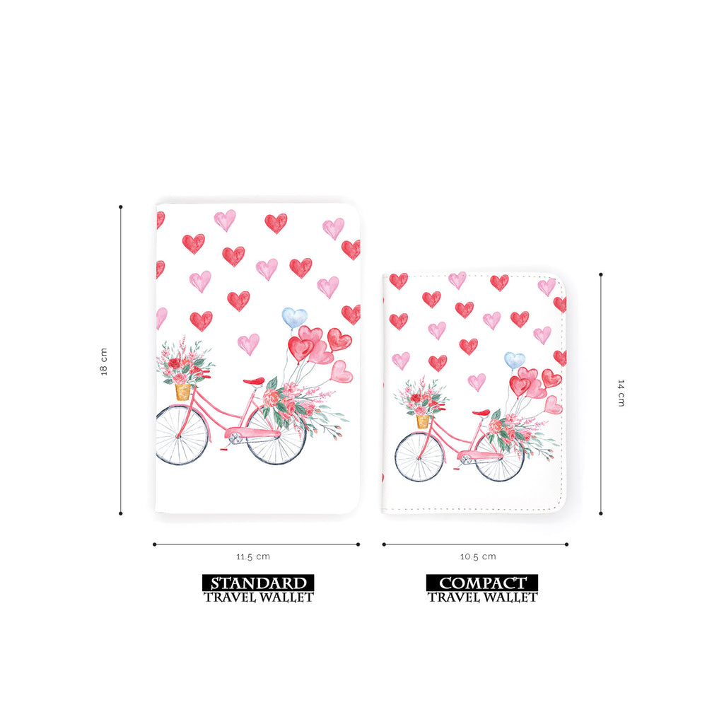 comparison of two sizes of personalized RFID blocking passport travel wallet with Happy Valentine Day design