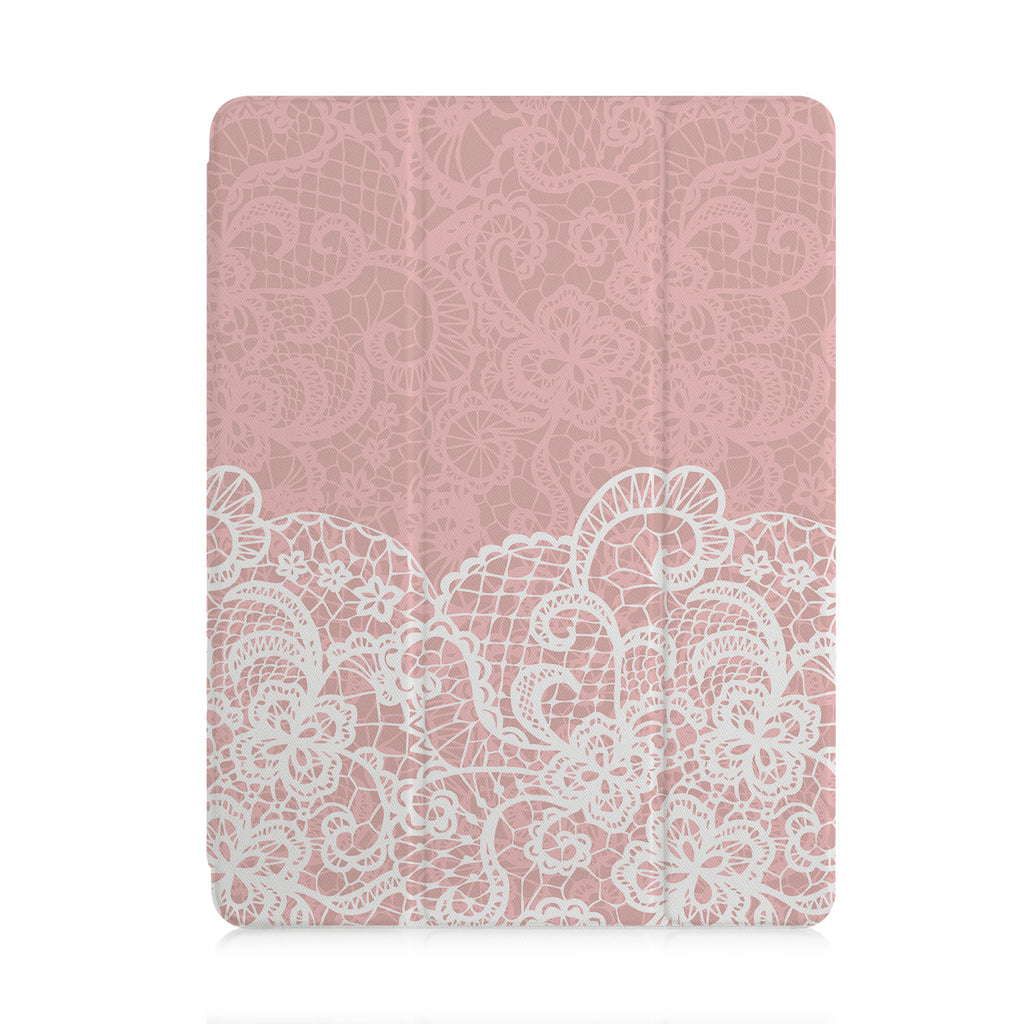 front view of personalized iPad case with pencil holder and Lacework design
