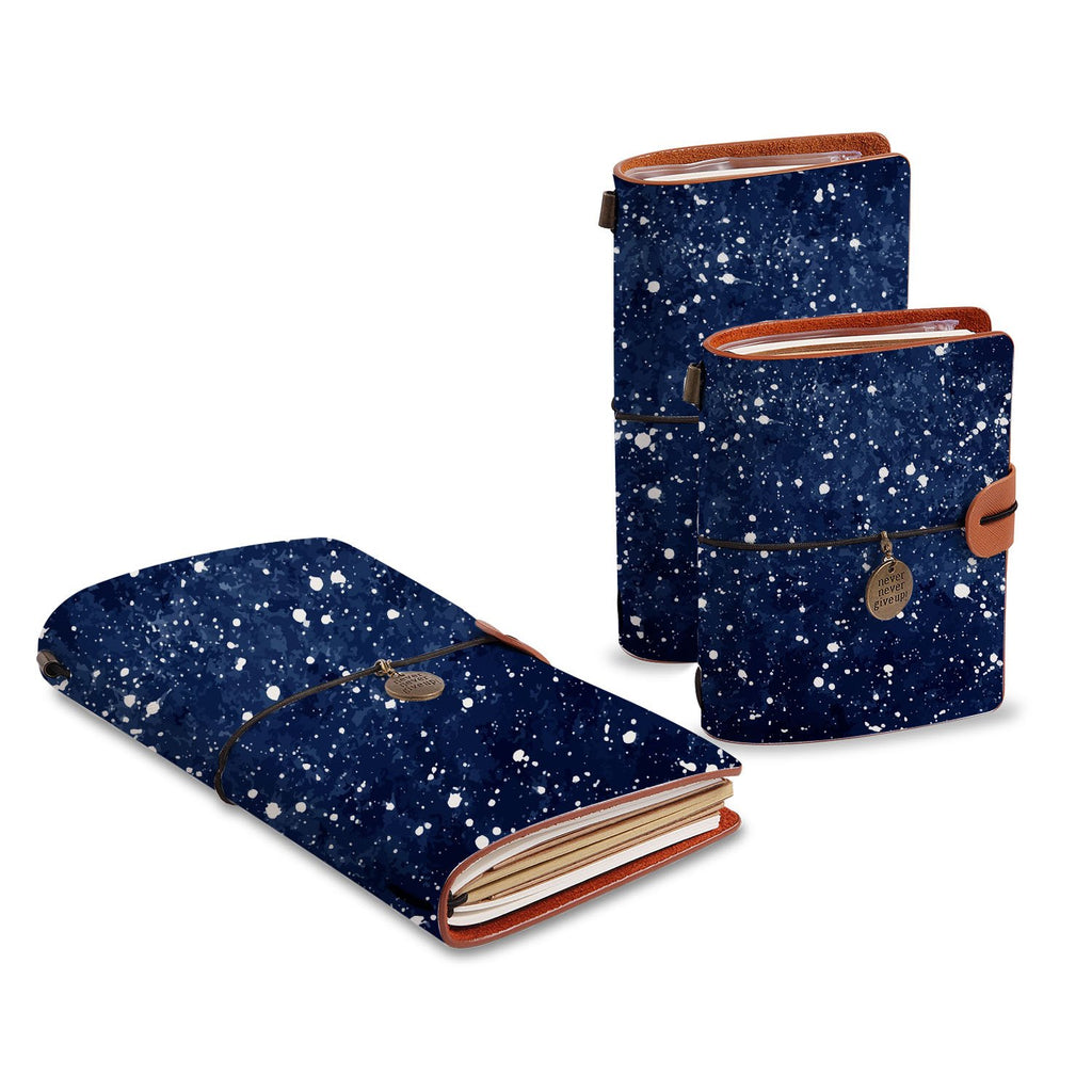 three size of midori style traveler's notebooks with Galaxy Universe design