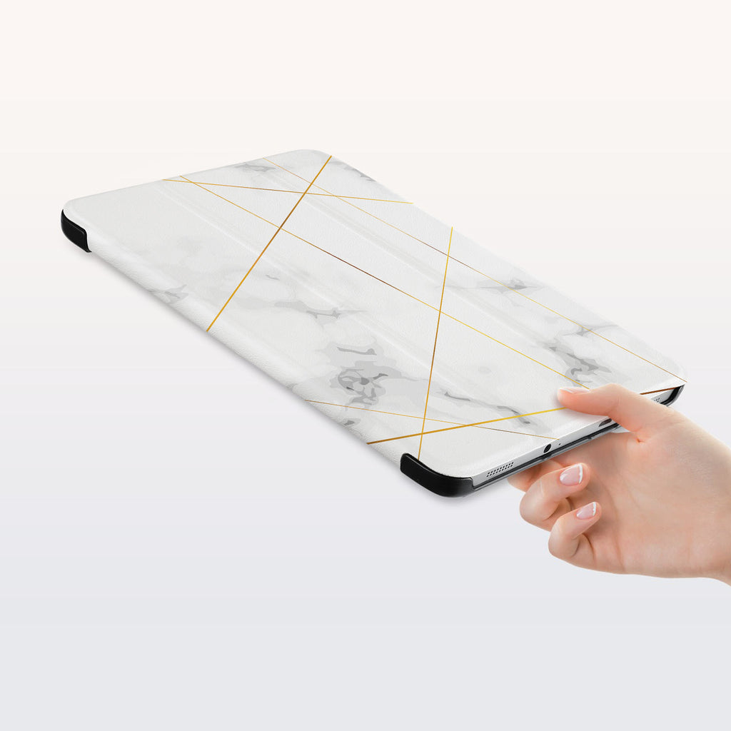 a hand is holding the Personalized Samsung Galaxy Tab Case with Marble 2020 design