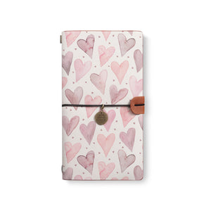 the front top view of midori style traveler's notebook with Love design
