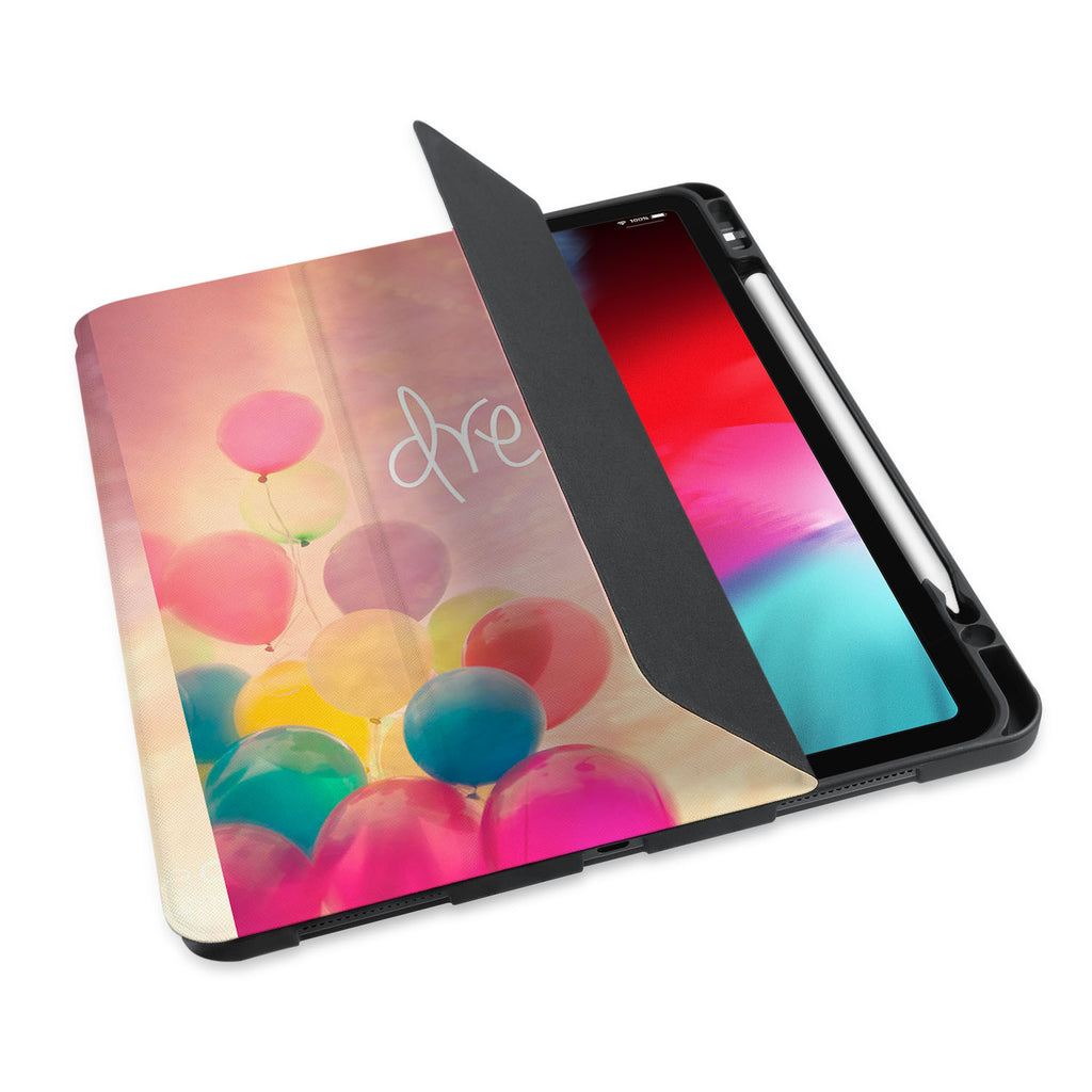 personalized iPad case with pencil holder and Motivational design