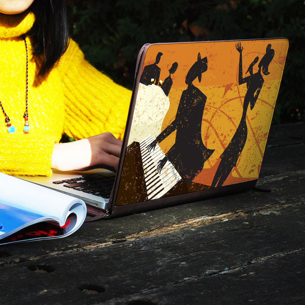 a girl using macbook air with personalized Macbook carry bag case with Music design on a wooden table