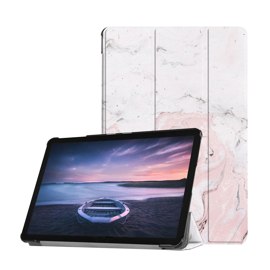 Personalized Samsung Galaxy Tab Case with Pink Marble design provides screen protection during transit