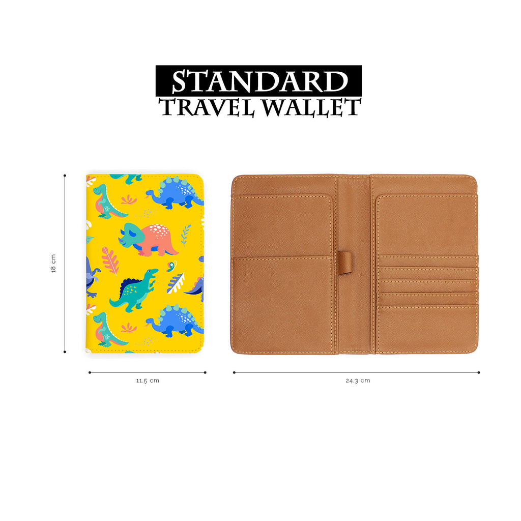 standard size of personalized RFID blocking passport travel wallet with Dinosour design