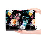 macbook air inside of personalized Macbook carry bag case with Black Flower design
