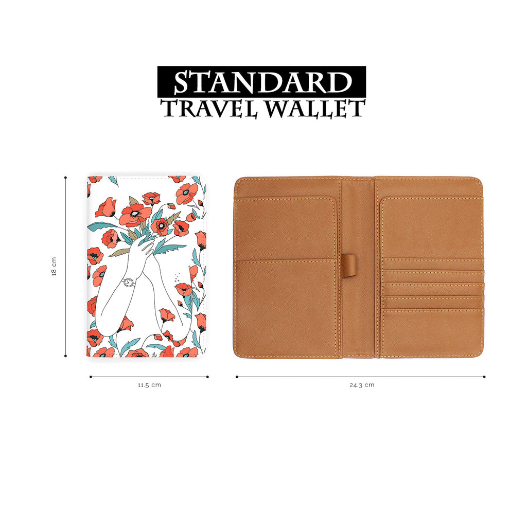 standard size of personalized RFID blocking passport travel wallet with Flower Girl design