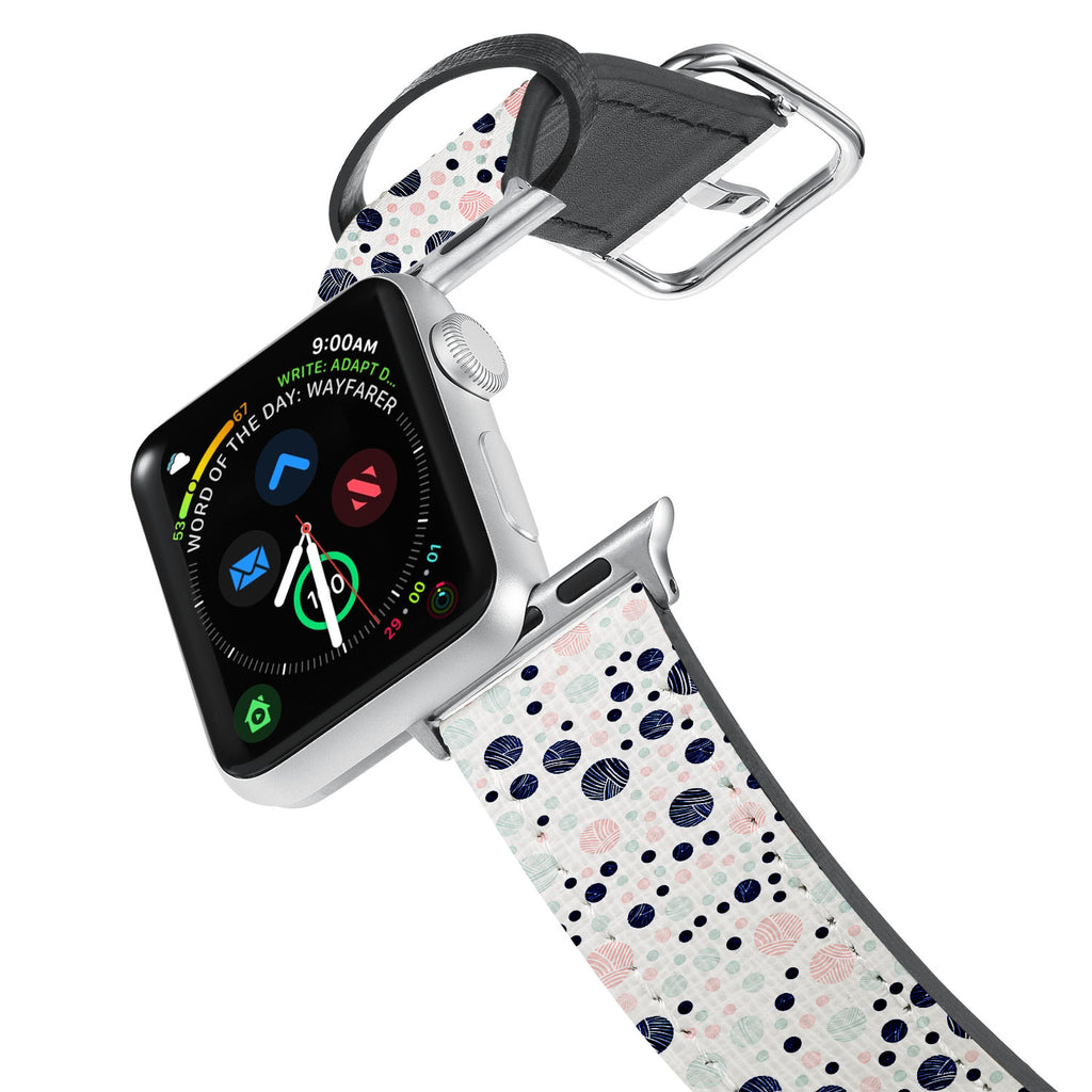 Printed Leather Apple Watch Band with Knitting design. Designed for Apple Watch Series 4,Works with all previous versions of Apple Watch.