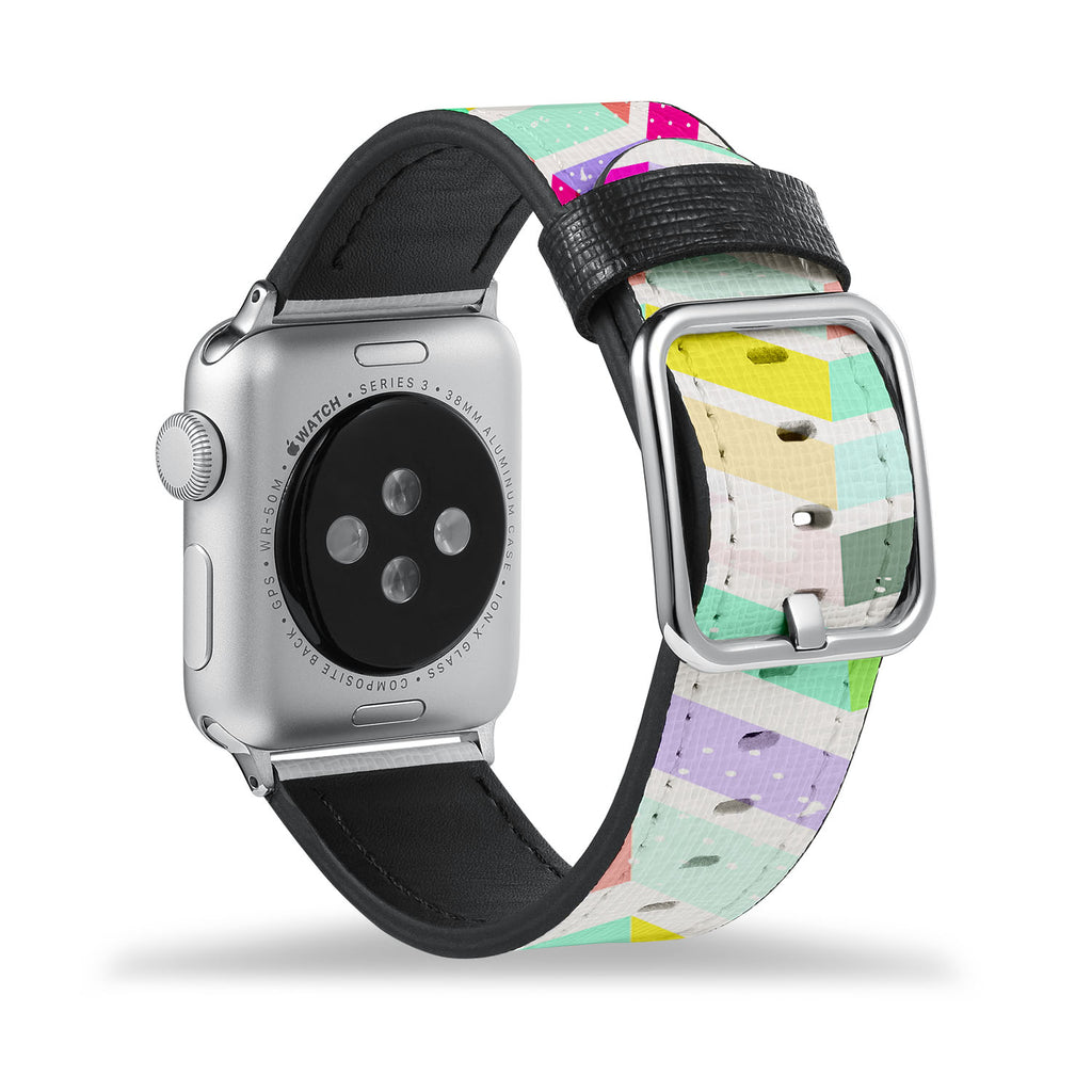 Printed Leather Apple Watch Band with Grungedup design Like all Apple Watch bands, you can match this band with any Apple Watch case of the same size