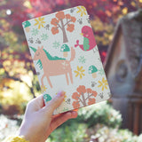 a girl holding personalized RFID blocking passport travel wallet with Animals 3 design