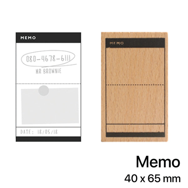 Wooden Rubber Stamp - Memo