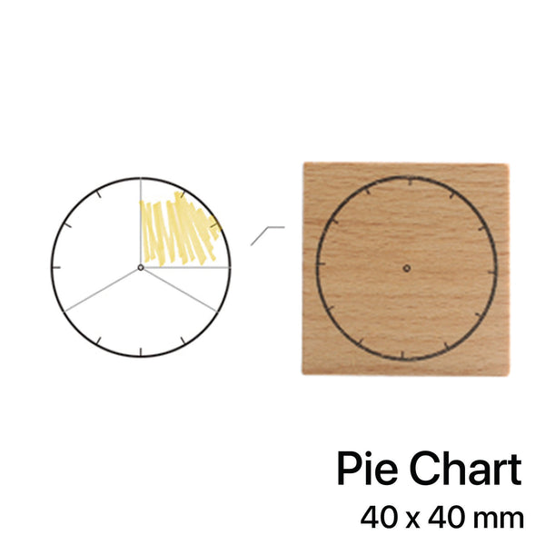 Wooden Rubber Stamp - Pie Chart