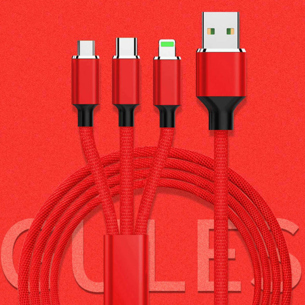 3 in 1 USB-C Micro USB and lightning Charging Cable