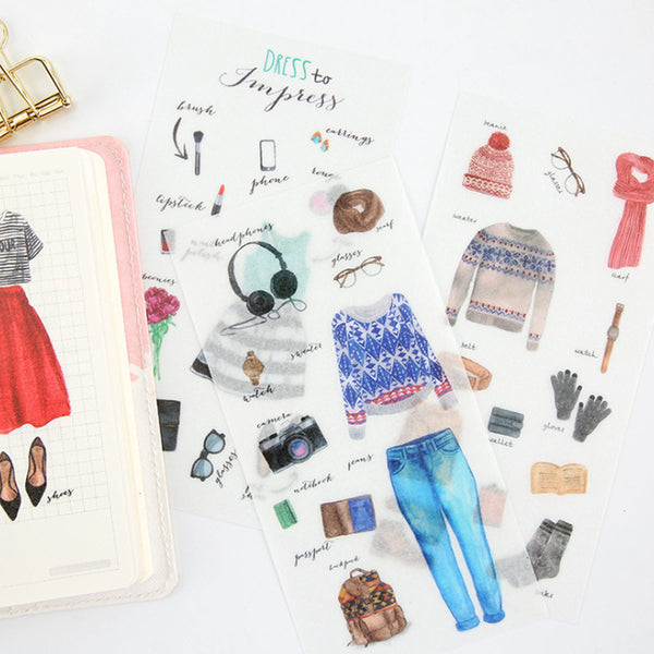 Washi Sticker - Fashion Dress (6 Pieces)