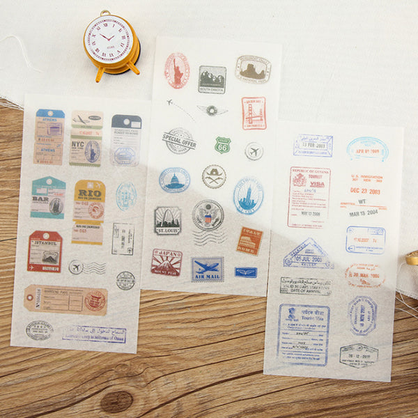 Washi Sticker - Travel Stamp (6 Pieces)