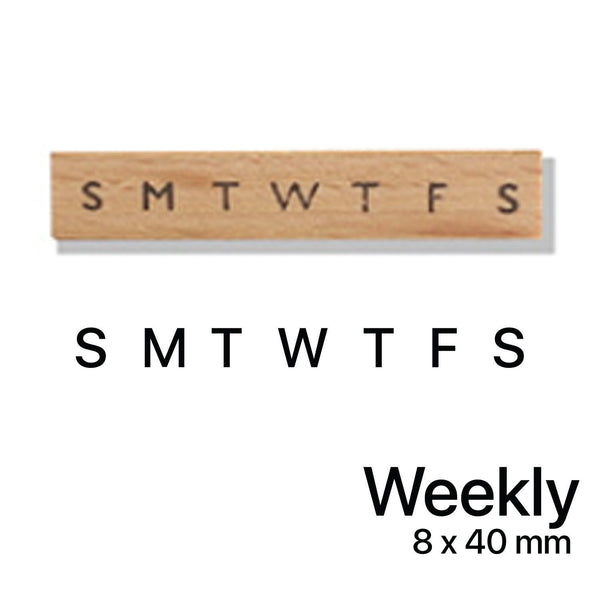 Wooden Rubber Stamp - Weekly