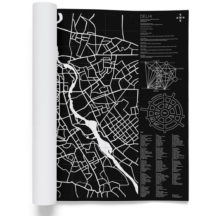 Delhi, framed Map Black