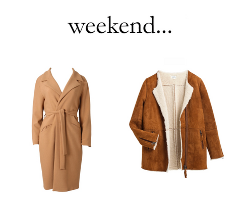 Marcha huskes beige jacket and suede shearling jacket by Hartford available at Peek Boutique