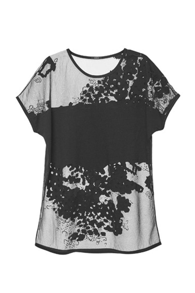 Women's see through mesh floral print top branded Denham at Peek Boutique