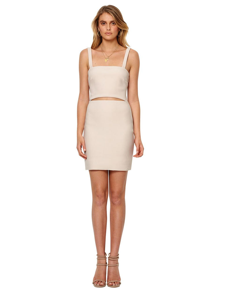 Gorgeous bonded crepe bodycon dress featuring cutout at waist, metal zipper at back and mini hemline.  Perfect for cocktails!