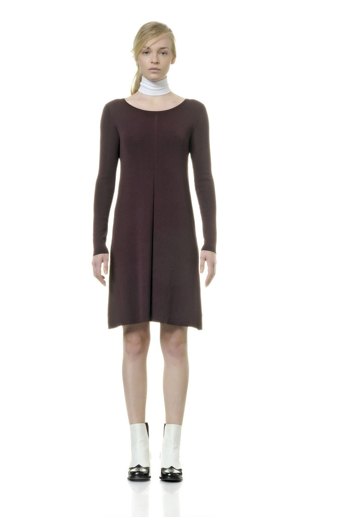 Burgundy knit long sleeve dress by Alpha Studio at Peek Boutique
