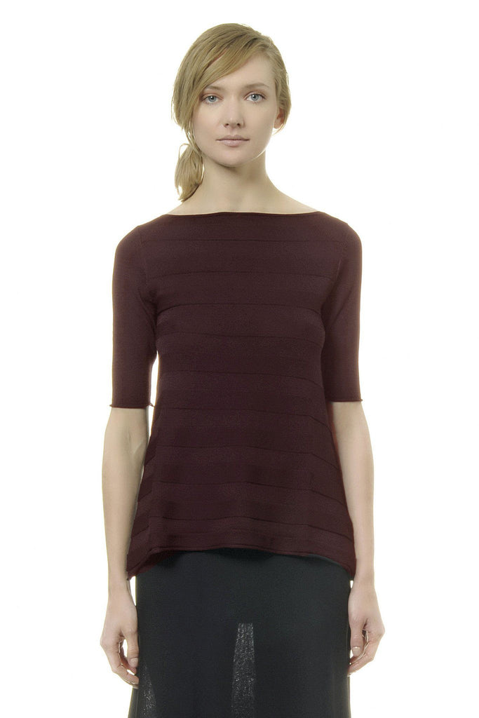Women's ribbed burgundy sweater branded Alpha Studio available at Peek Boutique