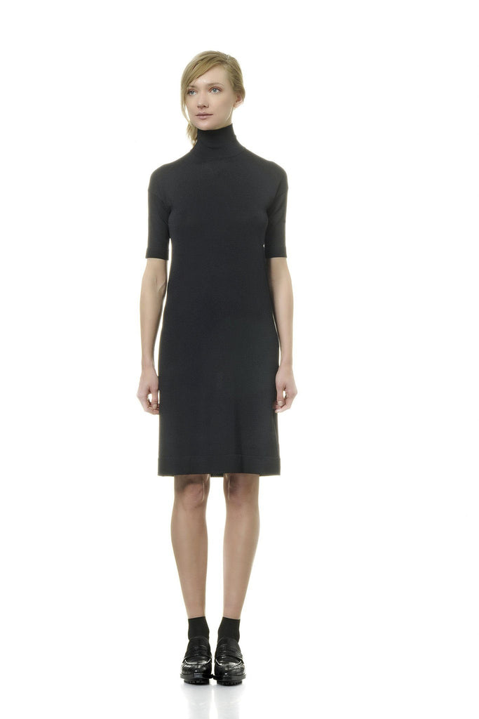 Sophisticated black 3/4 sleeve dress by Alpha Studio at Peek Boutique